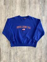 Vintage 90s Guess Jeans Sweatshirt Sz L Blue USA Spell Out Rare Crewneck