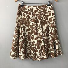 BODEN Women's Off White / Brown Floral Print Linen Flare Skirt size 8 R