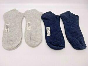 4 pr Women's No Show Cotton/Bamboo Socks - Low Cut - Navy, White Heather  9-11