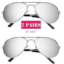 2 Pairs Mens Womens Retro Mirror Aviator Sunglasses Police Pilot Driving Silver