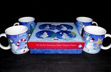 """New c.2006 Oneida Snow Pals Christmas 4 Dessert Plates 8 1/4"""" & 4 Mugs 10oz w1s1"""