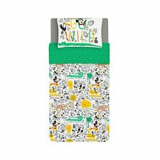 Kids Official Disney Mickey Mouse Zoo Single Duvet Cover Bedding Set