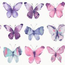 PINK BUTTERFLIES WALLPAPER - RASCH 273618 - NEW BUTTERFLY BEDROOM DECOR