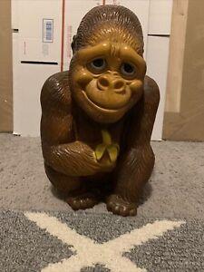 Vintage 1971 New York Vinyl Products Corp Plastic Ape, Gorilla, Monkey Coin Bank