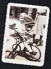 Vintage Antique Photograph Adorable Little Boy Riding Tricycle / Bicycle / Bike