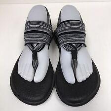 Sanuk Womens Size 8 Sandals Yoga Sling Back Black White