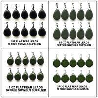 10 flat pear leads Swivel leads coated camo carp leads  + 10 free swivels