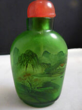 SUPERB CHINESE INSIDE PAINTED GREEN GLASS SNUFF BOTTLE