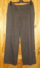 MONSOON dark chocolate brown beige pin stripe WOOL tailored smart trousers 10 38