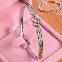 Fashion Crystal Love Heart Women Lady Silver Plated Bangle Bracelet Gift Jewelry
