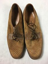 HUSH PUPPIES Vtg 9M Womens Two-Tone Brown Tan Suede Oxford Shoes Rockabilly