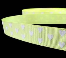 "2 Yds Valentine Lime Green Neon Yellow White Hearts Grosgrain Ribbon 7/8""W"