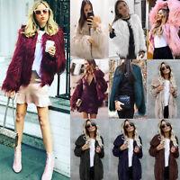 Women Fluffy Faux Fur Coat Jacket Hooded Parka Winter Warm Fleece Outerwear Tops