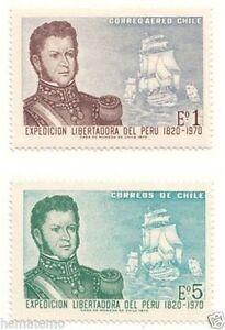 Chile 1971 #789-90 Expedicion Libertadora del Peru Bernardo O´Higgins MNH