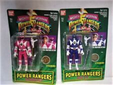 Lot of 2-Mighty Power Rangers Auto Morphin Pink and Blue Figures-New Details