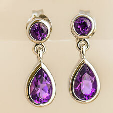 AMETHYST REAL 9K WHITE GOLD EARRINGS ROUND  PEAR CUT NATURAL PURPLE AMETHYST NEW