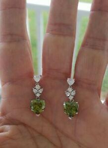 Green Tourmaline Heart Cut Dangle Earrings , Rhodium/Silver