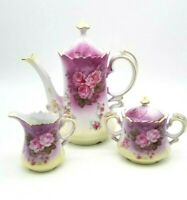 L'Amour China Coffee Tea Pot Sugar & Creamer Roses Purple w/ Yellow Hand Painted