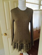 NWT 2016 winter Valentino $3500 antique gold knit sweater with Ruffles size M