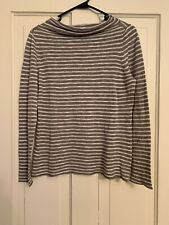 Eileen Fisher Mock Neck Long Sleeve Gray White Striped Size S Small Organic Line