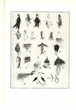 1940s Vintage Fishing Art Print ~ Fly Rod Lures and Flies