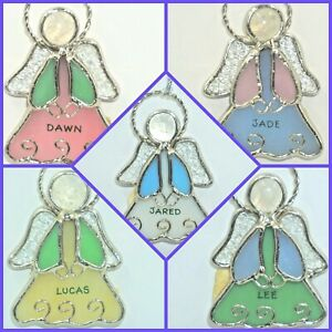 Ganz Stained Glass Angel Ornament Suncatcher Personalized Choose Name Xmas NWT