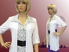 Damen Kleid Bluse weiß weiss V-Ausschnitt 3/4-Arm mit Gürtel L XL