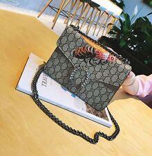 Women Embroidery Chain Bag Leather Shoulder Crossbody handbag Messenger