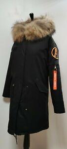 ARCTIC ARMY long classic parka, size S, black , faux fur lining, vgc
