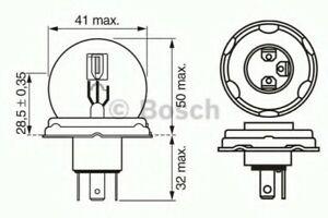 Genuine BOSCH PURE/LT R2 12V 45/40W P45T - 1987302023