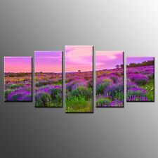 FRAMED Wall Art Painting Home Decor Stretched Canvas Print Purple Sky Flower-5p