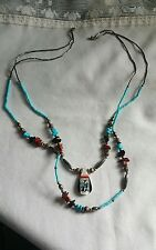 Vintage Sterling Zuni Native American Turquoise, Coral & Onyx Beaded Necklace