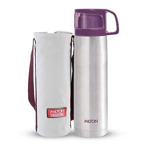 Milton Glassy Thermosteel 1000ml Vaccum Flasks, 1 Ltr , Hot & Cold 24Hr - Purple