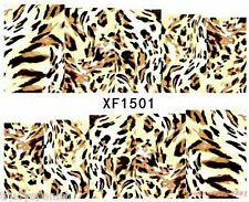 Full Wrap Water Transfers Nail Art Stickers Decals Beige Leopard Print (1501)