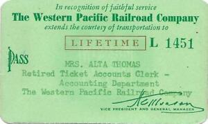 1955 WESTERN PACIFIC RAILROAD LIFETIME PASS