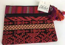 Stela 9 makeup Clutch Purse Red Textile Striped Geometric Tassels Zip New 2551-J