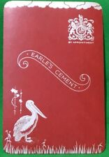 Playing Cards 1 Single Swap Card - Old Vintage EARLE'S CEMENT ADV PELICAN BIRD