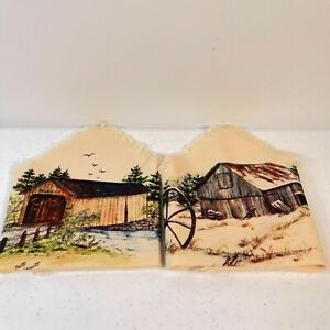 pair of woven napkins barn bridge farm beige fringe boho retro 11x11