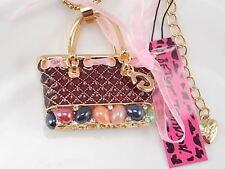 Betsey Johnson inlaid Crystal handbag pendant necklace # F048