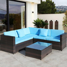 5-Seats Patio Furniture Sectional Sofa Set Outdoor Rattan Wicker Table Chairs