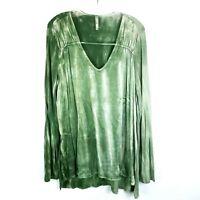 XCVI Long Sleeve Tunic Top Blouse Tie Dip Dye Olive Green Women's size XL