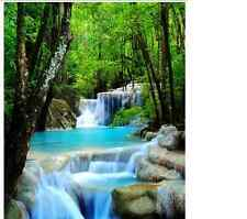 Waterfall Rock Stone FABRIC SHOWER CURTAIN