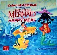 1989 McDonalds MIP Little Mermaid Complete Set - Lot of 4, Boys & Girls, 3+