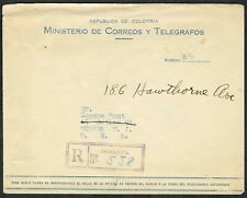 1941 Colombia Registered Bogota to Newark USA FREE Postage and Registration