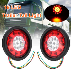 2x 19 LED Round Tail Light Indicator Stop Brake Lamp Ute Trailer Truck Lorry Van