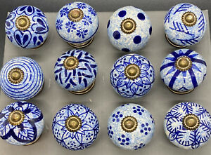 Blue & White Door Knobs-Drawer Knobs Beautiful Rustic Style Sold individually