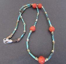 NILE  Ancient Egyptian Carnelian Amulet Faience Mummy Bead Necklace ca 600 BC