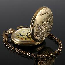 Vintage Pocket Watch Mechanical Skeleton Copper Case Chain Train Railway Antique