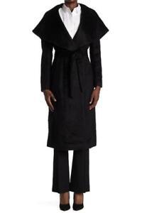 $850 - Donna Karan Suri Black Wool/Alpaca Belted Coat Size 10