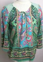 Fig And Flower Women's Top 3/4 Bell Sleeve V-Neck Size S Boho Floral Lace Tunic